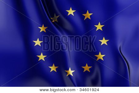 European flag with stars waving in the wind