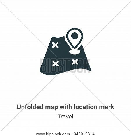 Unfolded map with location mark icon isolated on white background from travel collection. Unfolded m