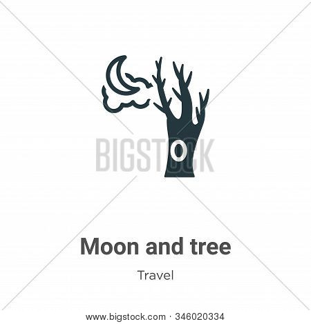 Moon and tree icon isolated on white background from travel collection. Moon and tree icon trendy an