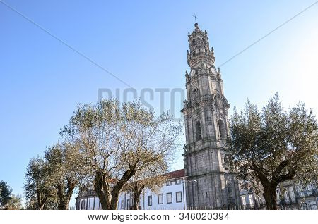 Porto, Portugal - Jan 10, 2020: Tower Of Famous Clerigos Church In The Historical Center Of The Port