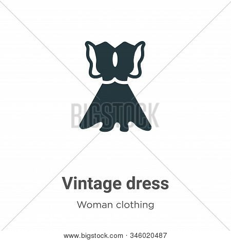 Vintage dress icon isolated on white background from woman clothing collection. Vintage dress icon t