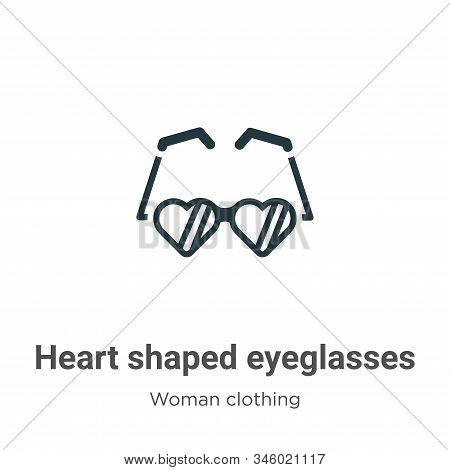 Heart shaped eyeglasses icon isolated on white background from woman clothing collection. Heart shap