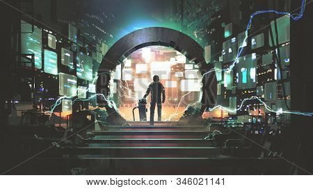 Sci-fi Concept Showing A Man Standing At The Futuristic Portal, Digital Art Style, Illustration Pain