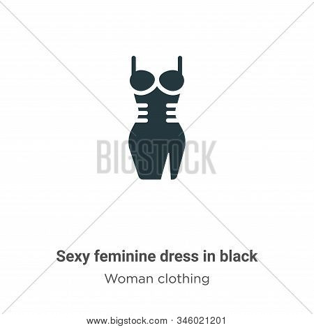 Sexy Feminine Dress In Black Vector Icon On White Background. Flat Vector Sexy Feminine Dress In Bla