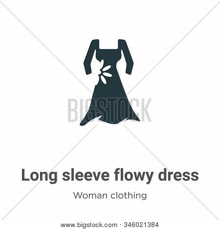 Long sleeve flowy dress icon isolated on white background from woman clothing collection. Long sleev