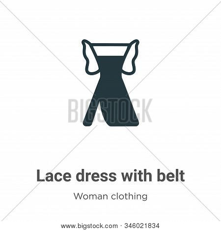 Lace dress with belt icon isolated on white background from woman clothing collection. Lace dress wi