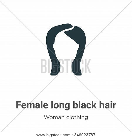 Female long black hair icon isolated on white background from woman clothing collection. Female long
