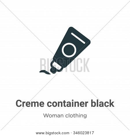 Creme container black icon isolated on white background from woman clothing collection. Creme contai