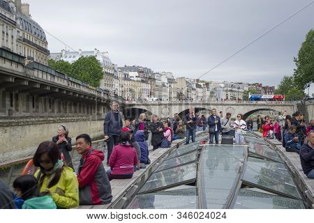 Paris, France - 6th June, 2019: Boat Tour Trip Of The Seine River In Paris. View From The Sightseein