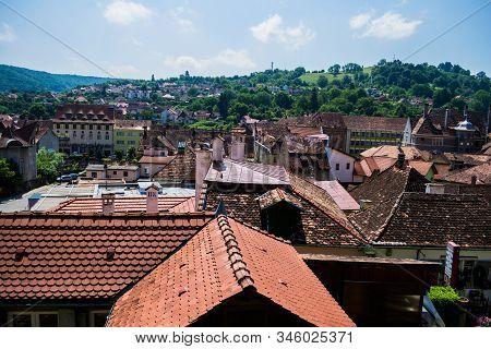 Sighisoara, Romania - June 17, 2019: Panoramic View Of Sighisoara Town Seen From The Citadel.