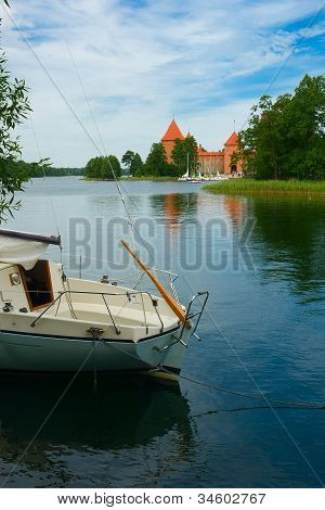 Castle On Lake Galve In Trakai, Lithuania