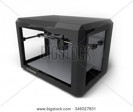 3D Printer Isolated on White Background. 3D Illustration.