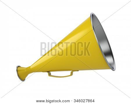 Yellow Retro Hand Loudspeaker Side View Isolated on White Background. 3D Illustration.