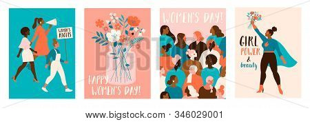 Collection Of Greeting Card Or Postcard Templates With Flower Bouquet In Vase, Floral Wreath, Femini