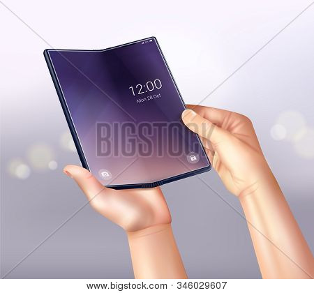 Foldable Smartphone Realistic Composition With Gradient Background Flare Spots And Folding Touchscre