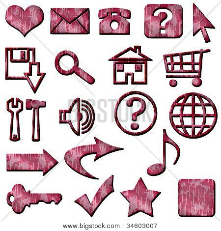 Pink Camouflage Masculine Website Icons Buttons Navigation