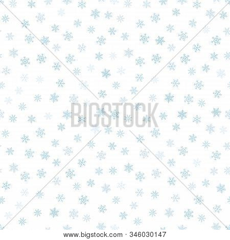 Snow Seamless Pattern. Subtle Vector Background With Small Scattered Blue Snowflakes. Delicate Vecto