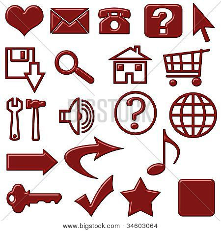 Red Plastic Candy Shine Website Icons Buttons Navigation