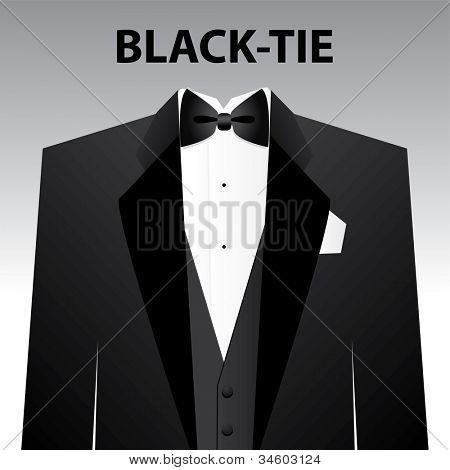 Dress code - Black tie. The man - a black tuxedo and black butterfly. Vector.