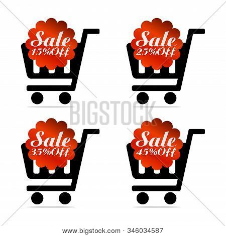 Red Sale Icons Set 15%, 25%, 35%, 45% Off With Shopping Trolley. Vector Illustration