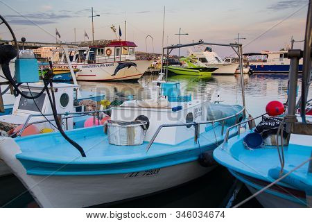 Agia Napa, Cyprus - October 22, 2019: Various Fishing Boats With Special Gear In Front. Touristic Ve