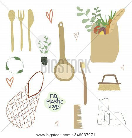 Zero Waste Collection Durable And Reusable Items. Eco Friendly Elements In Flat Cartoon Style. Vecto