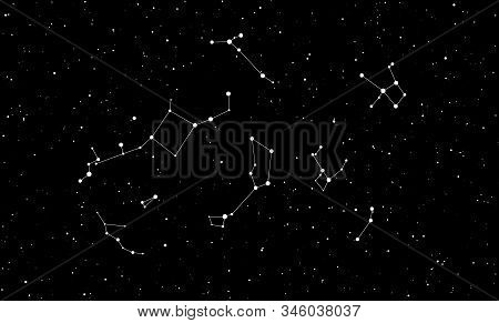 Abstract Black Background With Stars And Constellations For Your Design. Vector Starry Night Sky. Sp