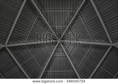 Round And Symmetrical Pergola Dome, Roof Of A Catholic Church On Saloum Island In Senegal, Africa. I