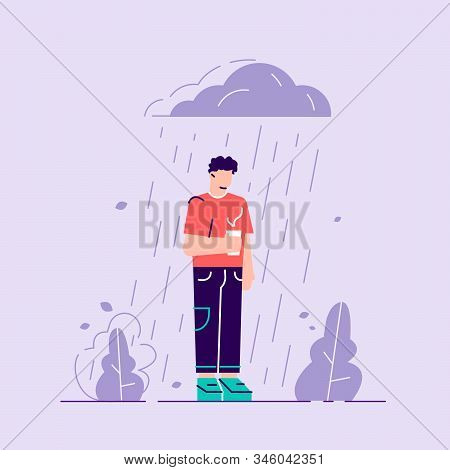 Woman In Depression. Sad Male Character Standing Under The Rain. Overcast Weather. Emotions. Solitud