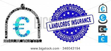 Mosaic Euro Storage Icon And Corroded Stamp Watermark With Landlords Insurance Text. Mosaic Vector I