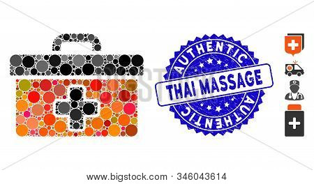 Mosaic First Aid Toolbox Icon And Corroded Stamp Seal With Authentic Thai Massage Text. Mosaic Vecto