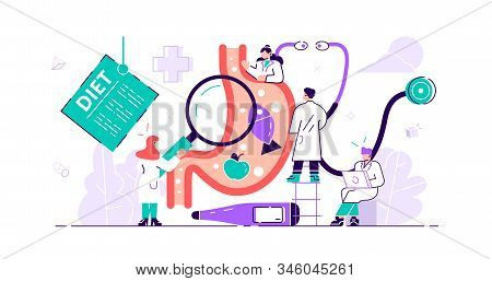 Gastroenterology Concept.tiny Stomach Doctor Persons. Medical Internal Organs Disease Health Care. T