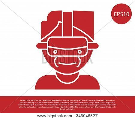 Red Virtual Reality Glasses Icon Isolated On White Background. Stereoscopic 3d Vr Mask. Vector Illus