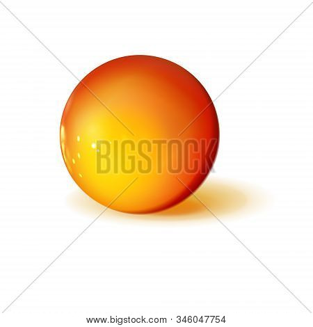Mockup Of Glossy Golden Or Yellow Sphere, Polished Ball. Orb Icon 3d Yellow-red Color. Realistic Geo