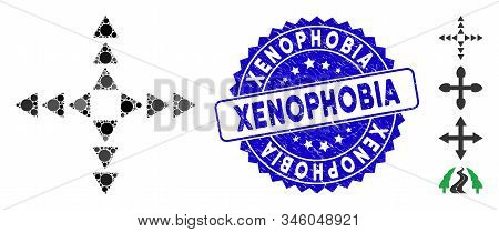 Mosaic Outside Direction Triangles Icon And Grunge Stamp Seal With Xenophobia Phrase. Mosaic Vector
