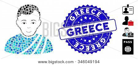 Mosaic Patrician Citizen Icon And Corroded Stamp Seal With Greece Caption. Mosaic Vector Is Designed