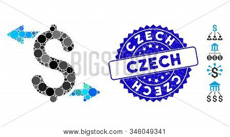 Collage Payouts Icon And Rubber Stamp Seal With Czech Phrase. Mosaic Vector Is Designed With Payouts