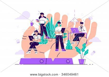 Concept Of Employee Care. Giant Hands Holding Tiny Office Workers. Wellbeing At Work Or Workplace. P