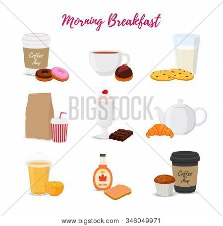 Vector Collection Of Food, Drinks For Breakfast, Brunch Set