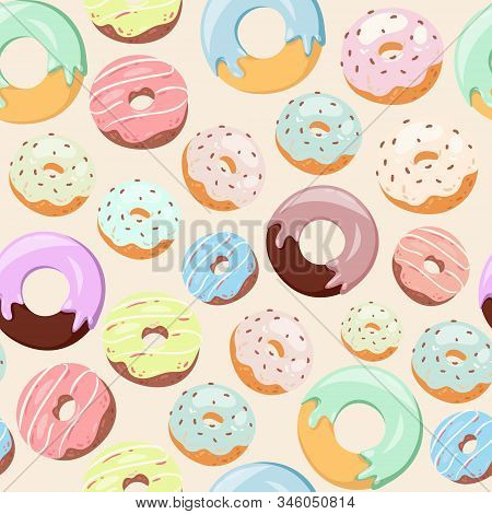 Donuts With Pink Icing, Glazing And Sprinkles Seamless Vector Pattern. Background For Cafes, Restaur