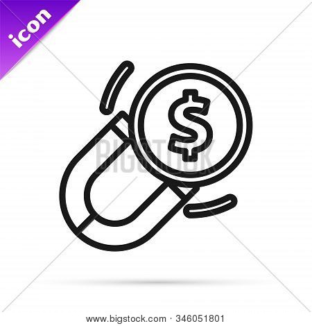 Black Line Magnet With Money Icon Isolated On White Background. Concept Of Attracting Investments. B
