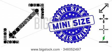 Mosaic Scalability Icon And Corroded Stamp Watermark With Mini Size Text. Mosaic Vector Is Created W