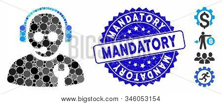 Mosaic Service Operator Icon And Grunge Stamp Seal With Mandatory Phrase. Mosaic Vector Is Designed
