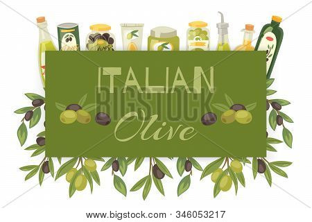 Italian Olive Oil Natural Product Organic Olive Oil Bottles, Olive Tree Branch With Green Fruit, Lea
