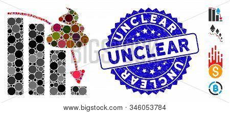 Mosaic Shit Fall Down Chart Icon And Rubber Stamp Watermark With Unclear Text. Mosaic Vector Is Desi