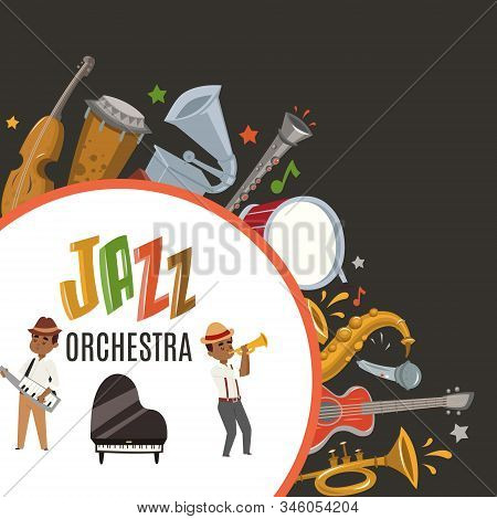 Jazz Orchestra Or Jazzband With Cartoon Characters Musician Saxophonist And Piano Player And Musical