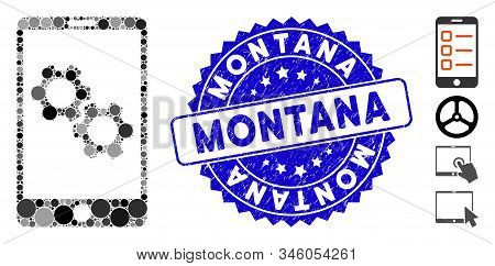 Mosaic Smartphone Gear Options Icon And Rubber Stamp Watermark With Montana Caption. Mosaic Vector I