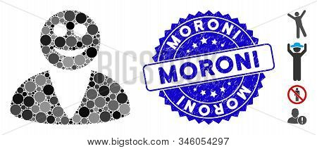 Mosaic Smiled User Icon And Grunge Stamp Watermark With Moroni Caption. Mosaic Vector Is Designed Fr
