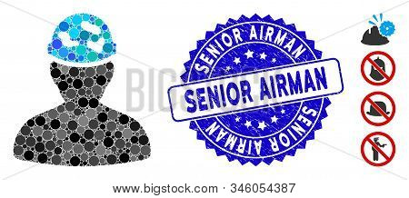 Mosaic Soldier Under Spotted Helmet Icon And Rubber Stamp Seal With Senior Airman Phrase. Mosaic Vec