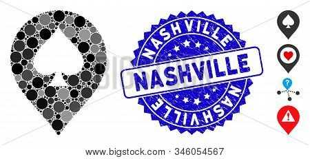 Mosaic Spade Casino Marker Icon And Rubber Stamp Seal With Nashville Text. Mosaic Vector Is Designed